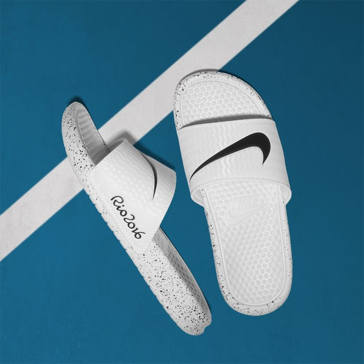 Ready for Rio! Nike Benassi for Rio Olympics 2016. SHOP: https://www.shoeconnection.co.nz/mens/shoes/casual/nike-benassi-rio-16?c=White-Black%20819718101