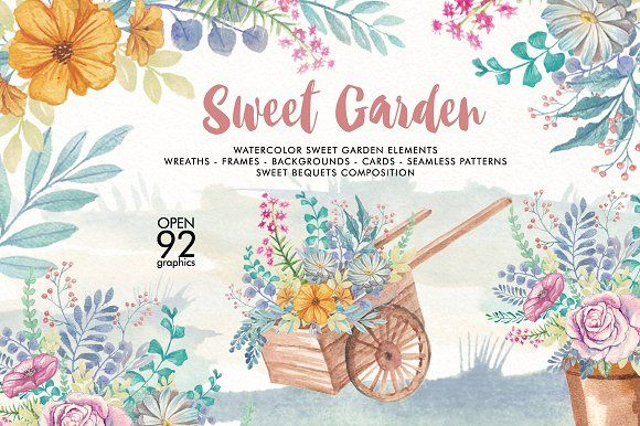 Watercolor Sweet Garden by GRAPHOBIA on @creativemarket
