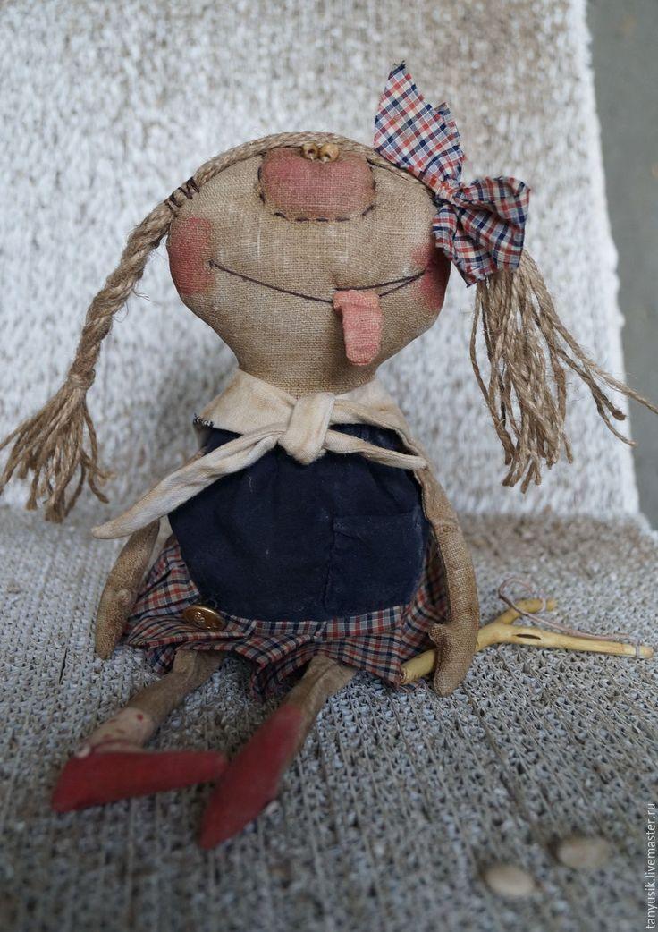 Купить Наденька - тёмно-синий, кукла, единственный экземпляр, лён, кофе, пва, синтепон