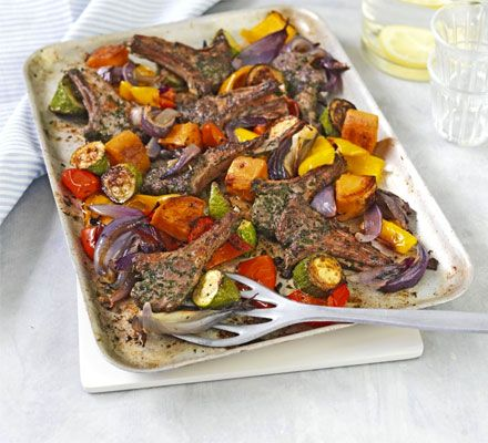 A healthy Mediterranean-style tray bake with sweet potato, peppers, courgettes and chunky onion