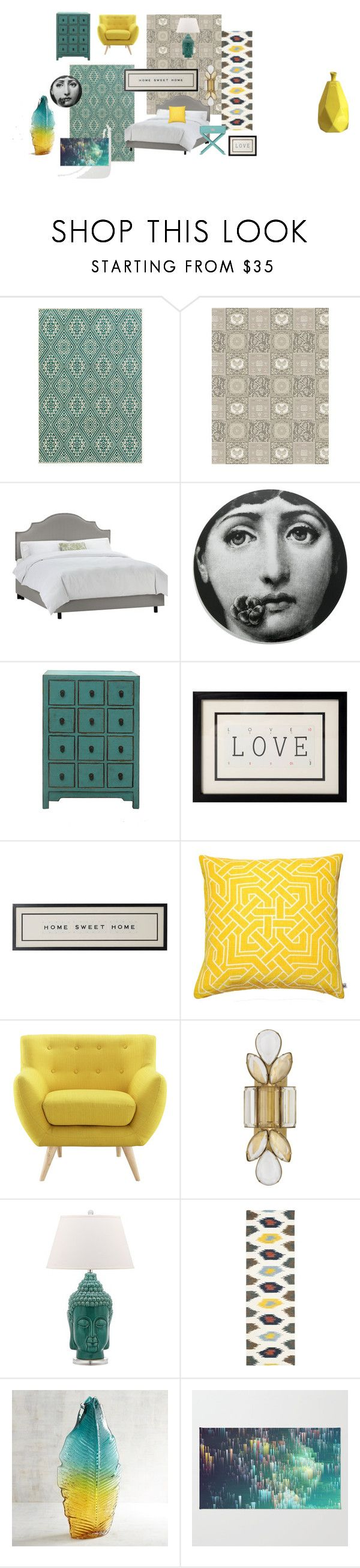 """Aqua Sunshine Bedroom"" by veronatheunissen on Polyvore featuring interior, interiors, interior design, home, home decor, interior decorating, Surya, Versace, Fornasetti and Nina Kullberg"