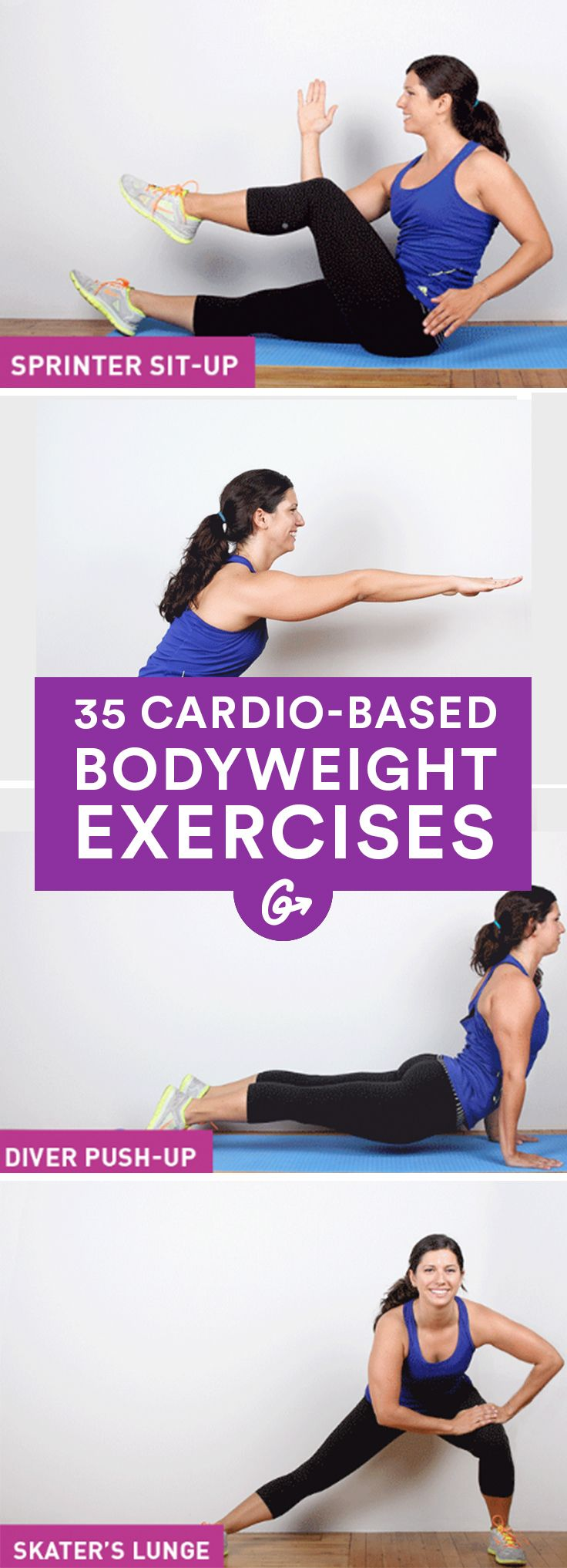35 Cardio-Based Bodyweight Exercises #cardio #bodyweight #exercises http://greatist.com/fitness/cardio-bodyweight-exercises