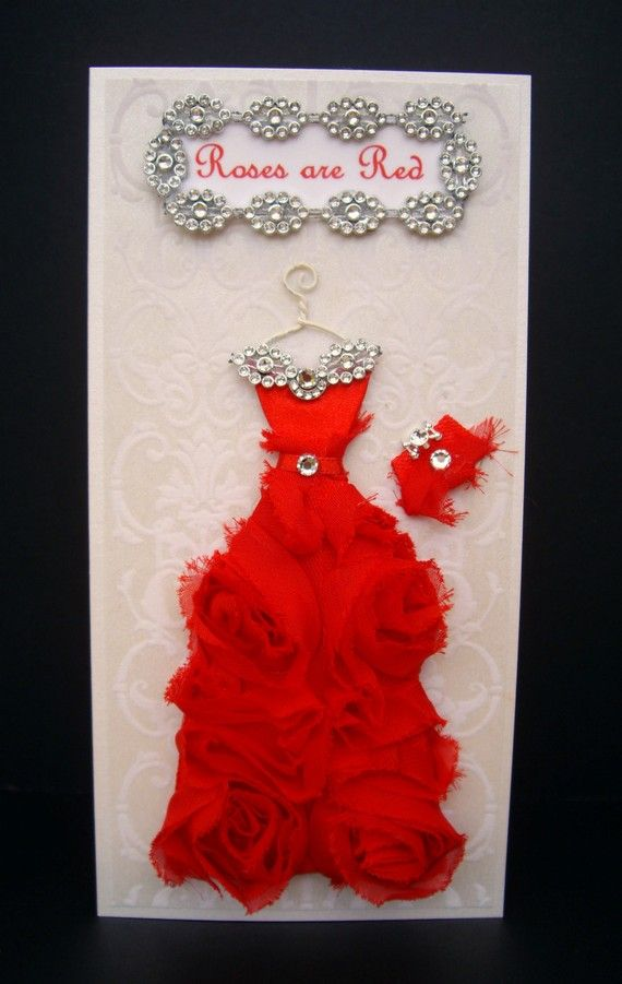 Roses are Red Personalized Dress Card / DL Size / Handmade Greeting Card via Etsy