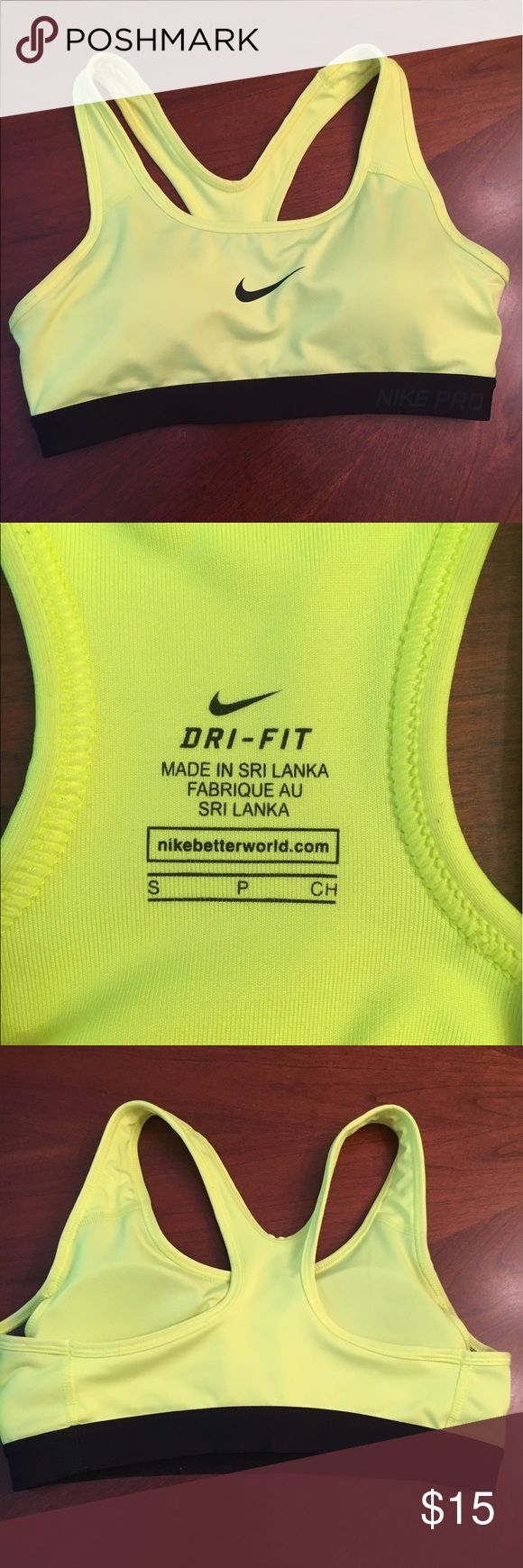 Nike sports bra EUC highlighter yellow sports bra with pads. Worn once. ⚜️I love receiving offers through the offer button! ⚜️ Nike Intimates & Sleepwear Bras