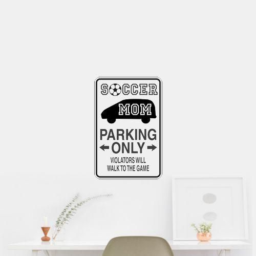 Soccer Mom Parking Only Sign Wall Art Car Sticker Decal. OUTDOOR VINYL MATERIAL SPECS: 5 - YEAR WEATHER RESISTANT OUTDOOR VINYLOutdoor Durability: 5 years (3 years gold and silver) when properly applied (vertical exposure (90°± 10°), unprinted film). Warranty coverage is defined as no appreciable deterioration in the product. Cracking, crazing, blistering or loss of adhesion constitutes a breach of warranty if it occurs during the stated life of the product. Description Exclusively from…