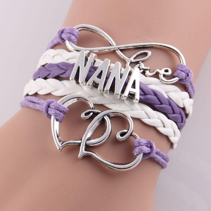 12 style Best gift infinity love NANA Bracelet heart feet charm bracelet for women rope bracelets & bangles Drop Shipping