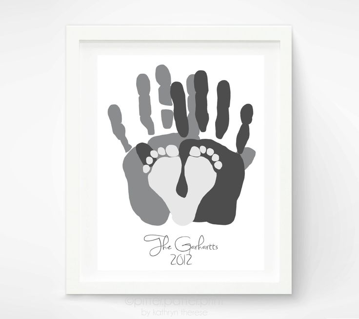 Personalized Family Portrait - Gift for New Dad - First Father's Day Gift - Baby Footprint Hand Print Art - Unique Family Art. idea