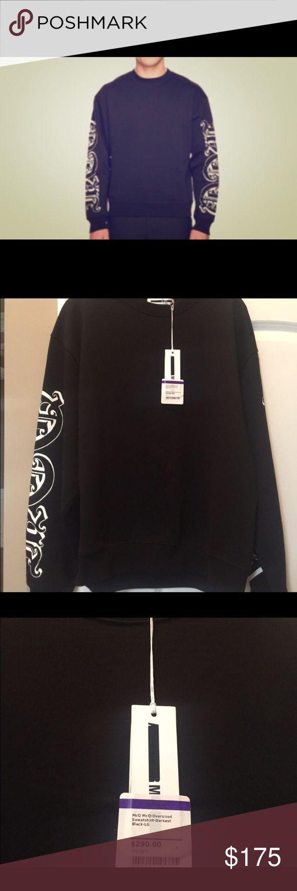NWT McQ Alexander McQueen oversized sweat shirt L Brand new with tags :). Retail $290! McQ Alexander McQueen Shirts Sweatshirts & Hoodies