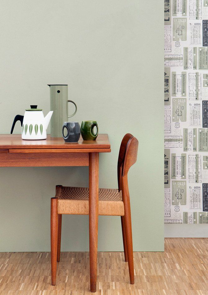We created this soft green for the Daytripper collection, inspired by the colour of the vintage bus tickets we used as the subject matter for our Hold Tight wallpaper.Our specialist paint manuf...