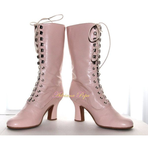 Victorian Boots in Light Pink leather victorian Shoes in Blush Powder... (835 RON) ❤ liked on Polyvore featuring shoes, boots, genuine leather boots, genuine leather shoes, pink shoes, leather boots and leather victorian boots