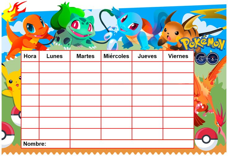 """Horario escolar """"EDITABLE"""" de Pokémon Go. ita con el Word, descaega gratis."""