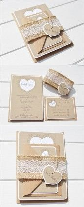Rustic Wedding Invitation with a Lace and Burlap Belly band