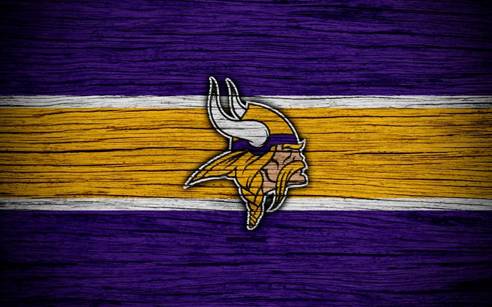 Download wallpapers Minnesota Vikings, 4k, wooden texture