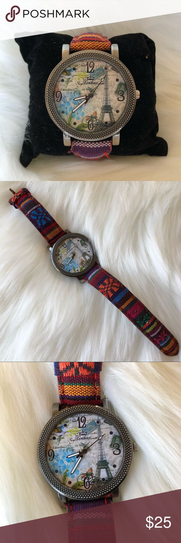 🇲🇽WOMEN VINTAGE MEXICAN FABRIC WATCH🇲🇽 100% Brand New High quality watch  Water resistant stainless steel back Band Material:fabric  Case Dia:4.3cm Band Width:2cm Weight:35g  Package included: 1pc wristwatch with box Accessories Watches