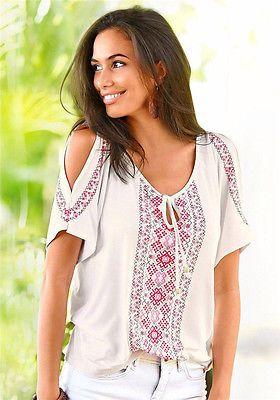 Fashion Women Summer Shoulder Print Casual Beach Tee Tops Blouse