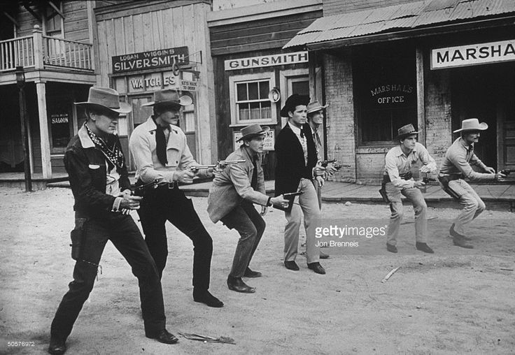 James Garner;Peter Brown;John Russell;Jack Kelly;Ty Hardin;Wayde Preston;Will Hutchins TV actors (L-R) Will Hutchins, Wayde Preston, Jack Kelley, James Garner, Ty Hardin, Peter Brown, John Russell posing on a Hollywood set. (Photo by Jon Brenneis/The LIFE Images Collection/Getty Images)