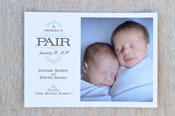 Customizable Twins Baby Announcement: A Perfect Pair by LiamAndEva - ETSY