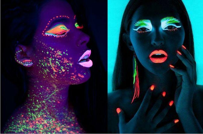 Blacklight make-up fotoshoot