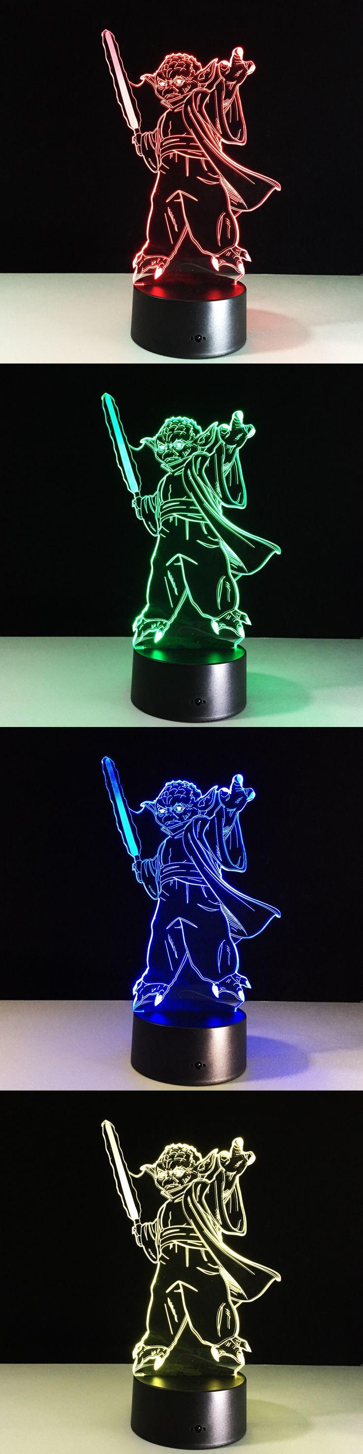 Star Wars Master Yoda 3D Led Light Star Wars Visual Night Lights Acrylic USB LED Creative 3D Lighting Lamp For Chrismas