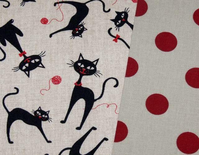 Černé kočky / kočičky - ZBYTEK 0,46 m - režná látka - dětská bavlna