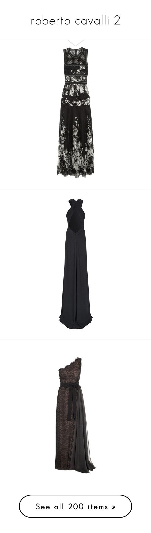 """""""roberto cavalli 2"""" by la-cherie-love ❤ liked on Polyvore featuring dresses, gowns, roberto cavalli, vestidos, black, beaded silk chiffon gown, embellished dress, floral evening dresses, cut out gown and floral evening gown"""