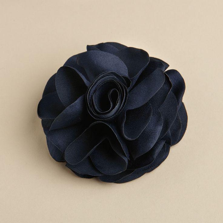 Silk Rose Wedding Hair Clip or Pin - Navy - The Wedding Faire