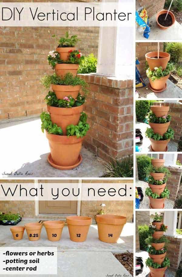 17+schöne,+einfache+und+preiswerte+DIY+Bastelideen+mit+Blumentöpfen+für+den+Garten