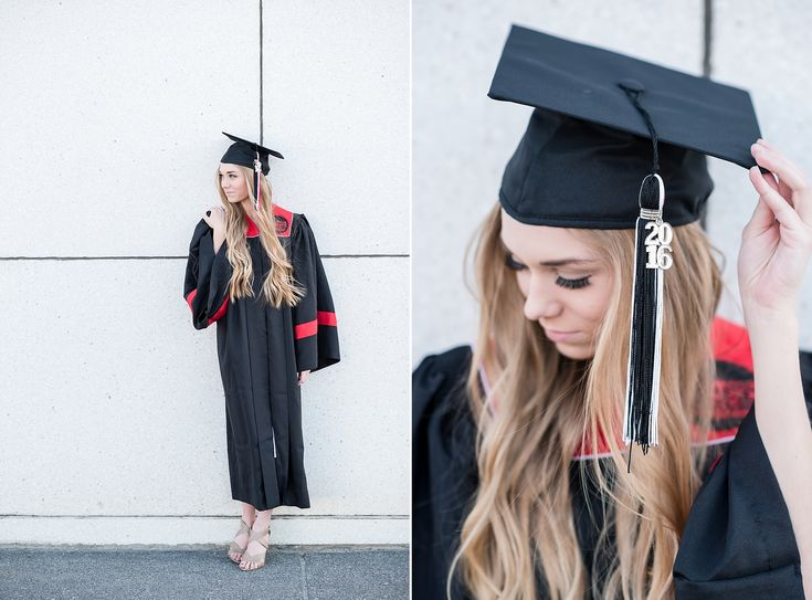 Senior Girl cap and gown Graduation Photos Downtown by Michelle & Logan