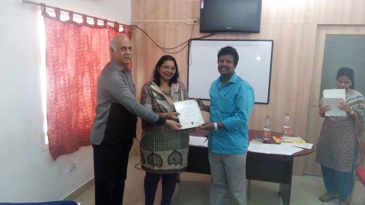 Receiving Walk The Talk Participation certificate from organisers TM venkatesh and TM shaila. Missing DTM Srinivasan Kartikeyan .#toastmaster