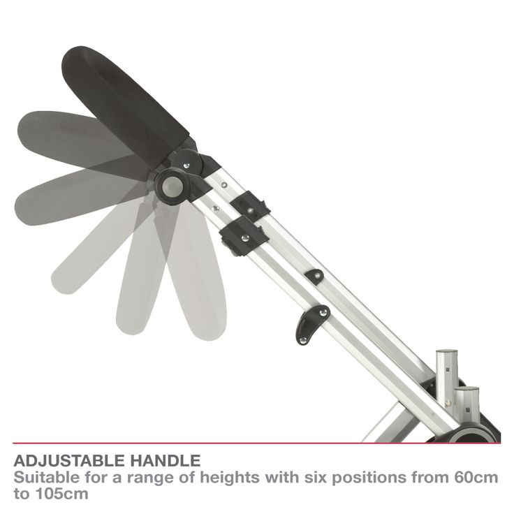 Redsbaby Bounce - The Utlimate All-In-One Stroller/ Pram www.redsbaby.com.au Adjustable handle – suitable for a range of heights with six handle height positions from 60cm to 105cm - great for tall partners!