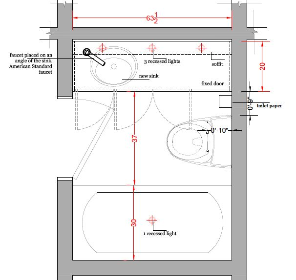 small bathroom floor plan with measurements