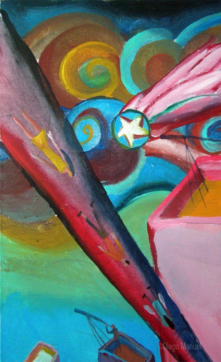 ciudad futura, pinturas de Diego Manuel, Painting Cityscape Artwork - Fine Art by Diego Manuel