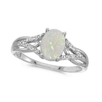Oval Opal and Diamond Cocktail Ring 14K White Gold (0.70ct) - Allurez.com