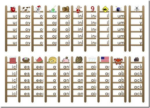 37 Printable Word Family Ladders (will use at word work stations and morning wall)