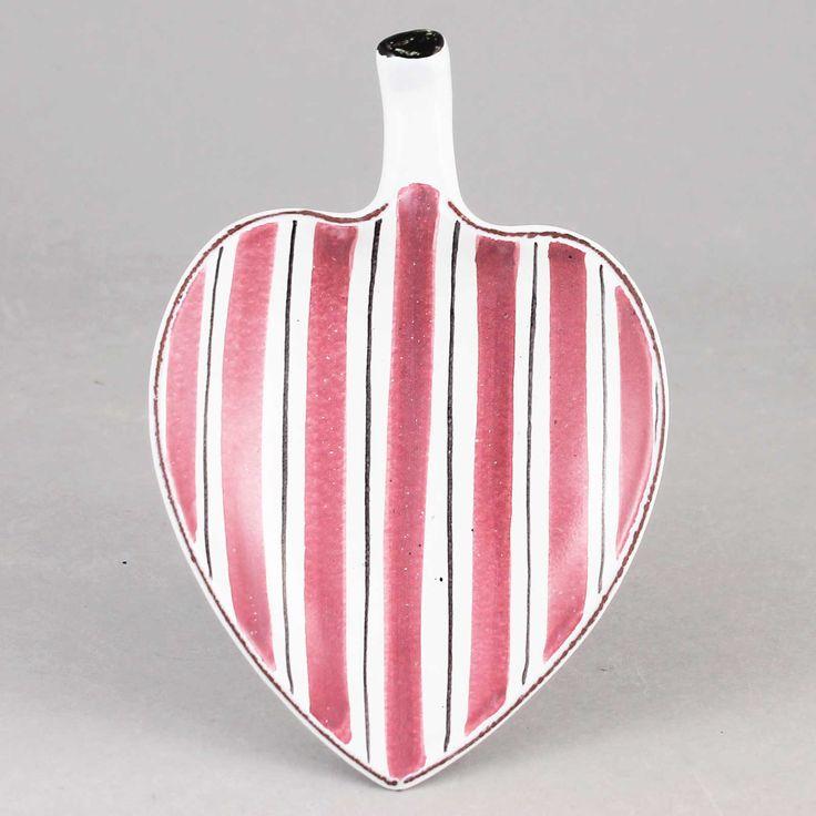 Stig Lindberg (1950s) Small Red Leaf Faience Dish