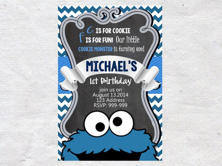 Cookie Monster Birthday Invitation Invite Chalkboard Chevron Pattern Cookie Monster Invitation by VPrintables on Etsy https://www.etsy.com/listing/216171861/cookie-monster-birthday-invitation