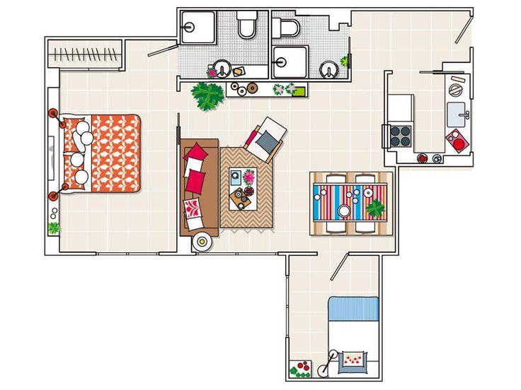 173 best images about planos de casa on pinterest house for Croquis salon
