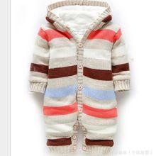 Knitted Winter Newborn Christmas Striped Snowsuits Romper Infant Jumpsuit