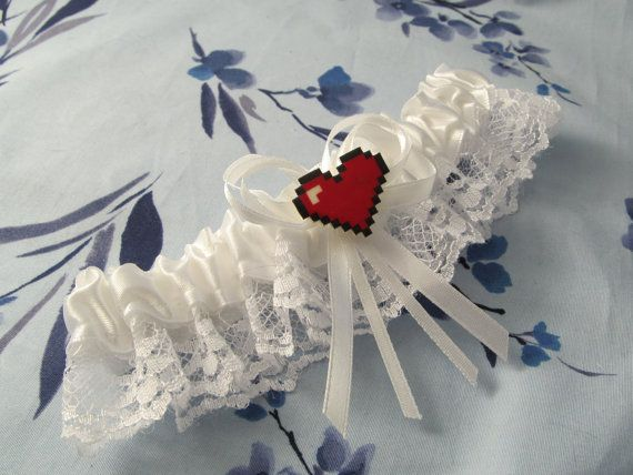 Retro video game inspired pixel heart Bride's by emmadreamstar, $34.41
