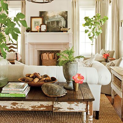 Living RoomDecor, Coffee Tables, Ideas, Living Rooms, Fireplaces, Colors, Livingroom, Plants, Farmhouse Living Room
