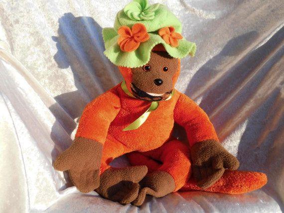 ORANGE MONKEY soft toy stuffed monkey HALLOWEEN by TALLhappyCOLORS