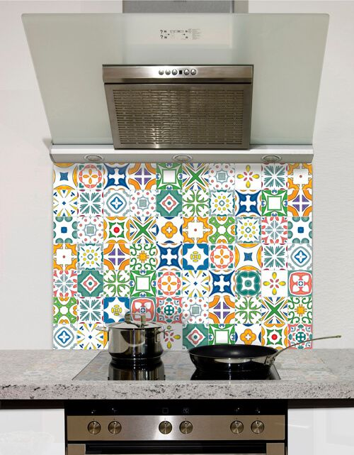 Mediterranean Mosaic Tile     Printed Glass Splashback from DIYSplashbacks.co.uk