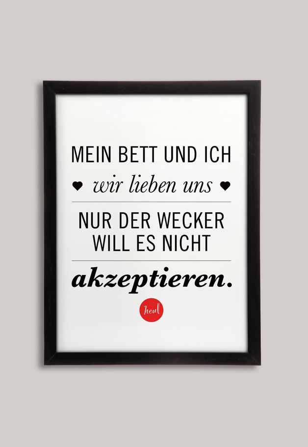 Lustiges Poster für Schlafmützen, Wohndeko / funny saying for bed lovers made by BarbsHome via DaWanda.com