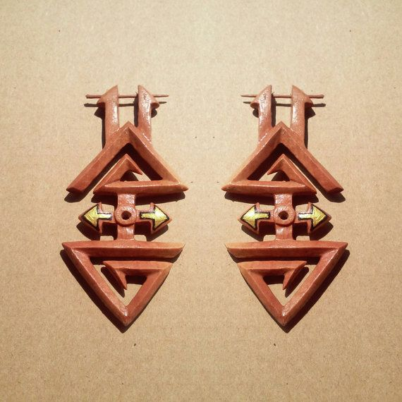 Check out this item in my Etsy shop https://www.etsy.com/listing/266611729/post-stick-earrings-pyramid-wooden