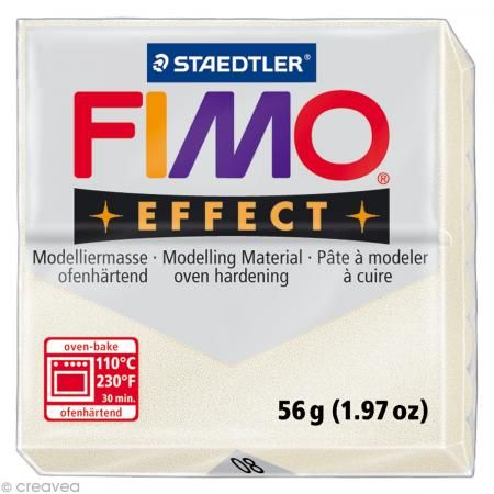 Fimo Effect Blanc Métallique nacré 08 - 56 gr - Photo n°1