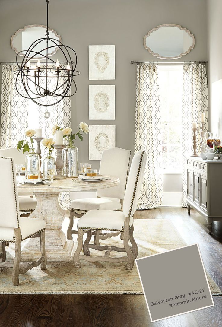 Gray dining room with pedestal table and white upholstered chairs; Benjamin Moore Galveston Gray #AC-27