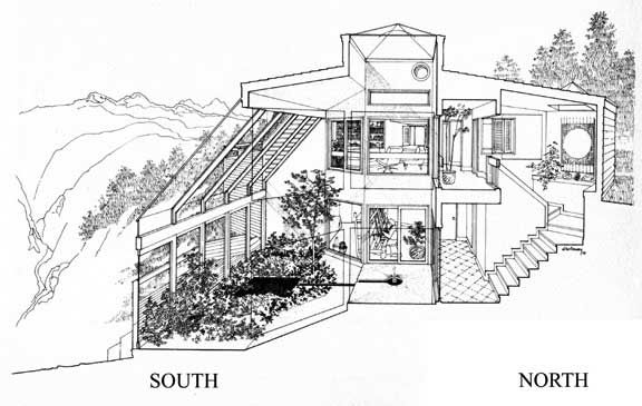 ChampionSection. Passive Solar Design. Near bottom of page. A really cool house plan; in particular the greenhouse. Multi-level (sigh), which won't work for us.
