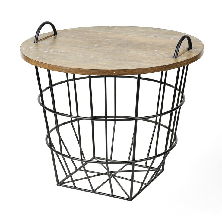 For a style unlike any other, try our Industrial Wire and Wood Basket Side Table! Featuring a removable tabletop and wire basket interior, this piece is the epitome of farmhouse chic!