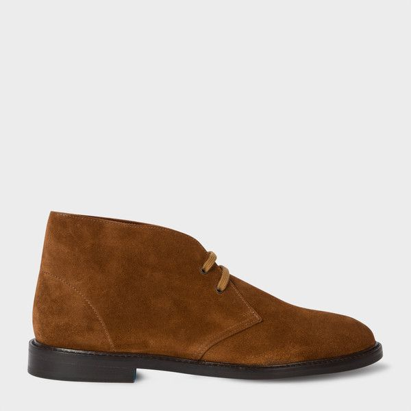 Paul Smith Men's Dark Tan Suede 'Alec' Boots ($425) ❤ liked on Polyvore featuring men's fashion, men's shoes, men's boots, mens leather soled boots, mens boots, mens suede boots, mens leather sole shoes and mens suede shoes