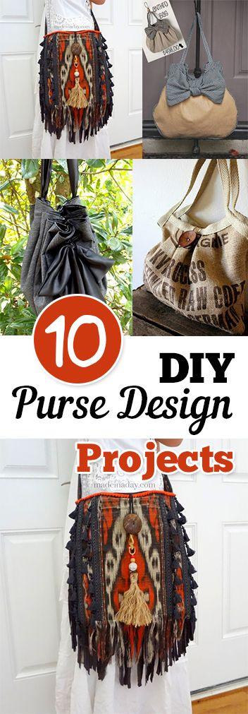 10 DIY Purse Design Projects. DIY, DIY clothing, sewing patterns, quick crafting, tutorials, DIY tutorials.